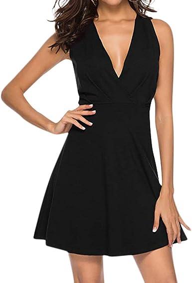 VEMOW Vestido de Mujer Falda de Fiesta Sólido Cuello en v cóctel ...