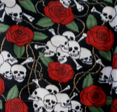 Skull Heads and Roses on Black Fleece By the Yard