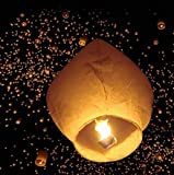 VINGLI 50 Pack Chinese Lantern Paper Fire Sky Wishing Lamp Full Assembled with Candle & Upgrated Frame & Eco Friendly &100% Biodegradable for Wedding, Party, Wishing, Birthday, Memorial(Kongming Wish