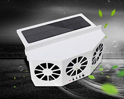 STYCC Solar Powered Car Window Windshield Auto Air Vent Fan Auto Ventilator System,Exhaust Fan Vehicle Radiator Vent with Ventilation(White) by STYCC