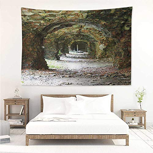 alisos Rustic,Wall Decor Tapestry Old and Ruined Arched Medieval Period Brick Tunnel Architecture Heritage Design Print 80W x 60L Inch Tapestry Wallpaper Home Decor Grey Red
