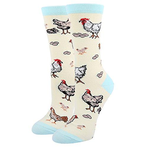 Women's Crazy Funny Crew Socks, Novelty Chicken Egg Hens Farm Socks in Beige