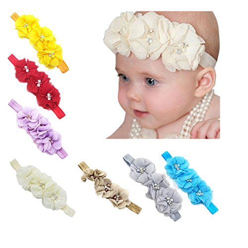 Kwok 17PC Baby Newborn Toddler Elastic Headband Chiffon Flower Photography Headbands