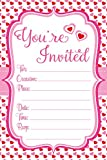 Pink Heart Invitations - Valentines Day - Fill In Style (20 Count) With Envelopes