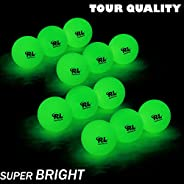 R&L Glow Golf Balls for Night Sports - Tournament Fluorescent Glowing in The Dark Golf Ball - Long Lasting
