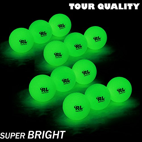 R&L Glow Golf Balls for Night Sports - Tournament Fluorescent Glowing in The Dark Golf Ball - Long Lasting Bright Luminous Balls Rechargeable with UV Flashlight - Included (6 -