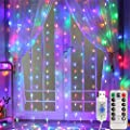 HUAFEI 300 LED Curtain Light with Remote Control,Waterproof Decorative Lights forBedroom,Indoor,Patio,Home Decor-8 Lighting Modes/USB Plug-in