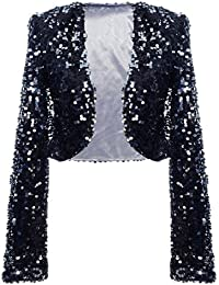 Women Sequin Jacket Long Sleeve Sparkly Cropped Shrug Clubwear