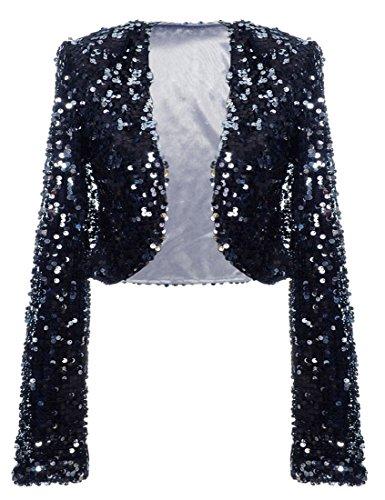 PrettyGuide Women Sequin Cropped Jacket Long Sleeve Sparkly Bolero DS Clubwear Black Silver M/US6-8