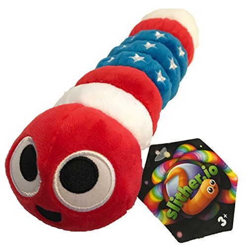 Slither Io 8  Bendable Plush Toy With Tag   Patriot American Flag Color