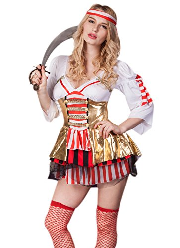 [Hot sale sultry sexy v-neck sea siren pirate halloween cosplay costume] (Sea Siren Sexy Costumes)