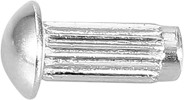 Remache de v/ástago moleteado de acero inoxidable juego de surtido de remaches s/ólidos duradero estriado juguetes de cabeza redonda remachado maletas M4*12 remache