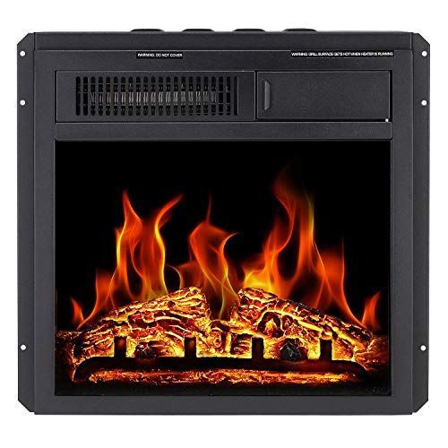 Antarctic Star Electric Fireplace Insert 18 Freestanding Heater Remote Control with 7 Log Hearth Flame Settings Adjustable Flame,1500w,Black