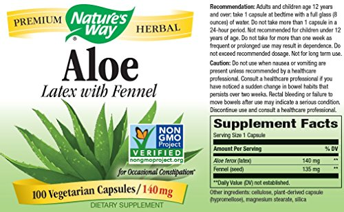 033674101506 - Nature's Way Aloe Latex with Fennel 140 mg, 100 Vcaps carousel main 2