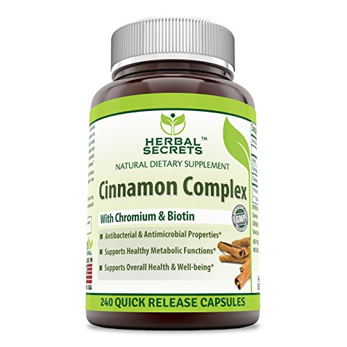 Herbal Secrets Super Cinnamon Complex with Chromium & Biotin 120 Quick Release Capsules (Biotin Super)