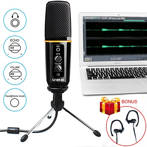 MAONO AU901 USB Microphone with Headphone Monitoring Echo Volume Control Zinc Alloy Podcast Vocal Condenser Mic for Mac OS, Windows XP, Linux OX, Computer Games, Youtube, Skype, LOL, Facebook Live