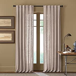 Cambria Malta 63 Inch Rod Pocket Back Tab Window Curtain Panel In Parchment Home