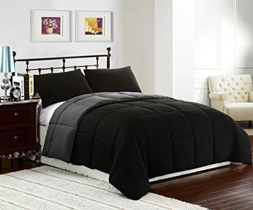 (Superbeddings 3-Piece Reversible Goose Down Alternative Comforter Set | Color: Black/Grey | Size : KING | 2 Tone Comforter Set | (1 comforter, 2 Pillowcases included) | Crafting : Quilted)