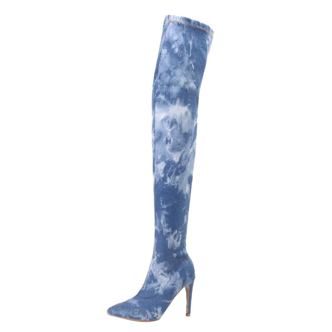 Women's Cowboy Long Combat Style Over-the-Knee Stiletto Chunky Heel Long Boots Winter Boots (US:6.5, Blue)