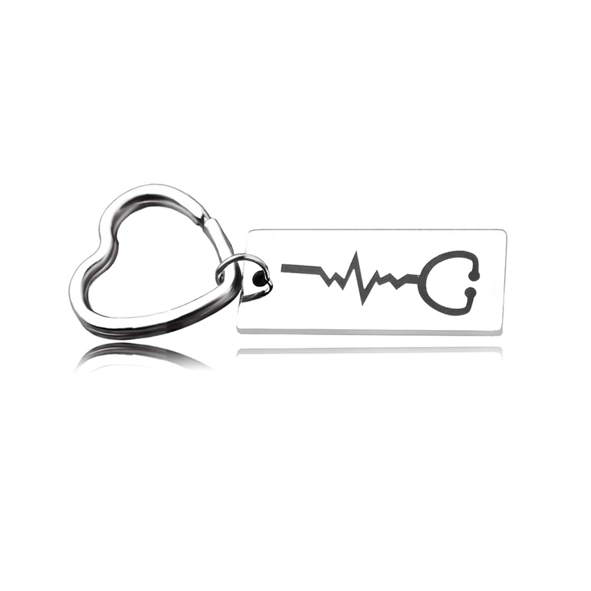 RUNXINTD Rose Gold Heartbeat Cuff Bracelet Stethoscope Bracelet Nurse Graduation Gift, for Nurse Doctor (Stethoscope-Keychain)