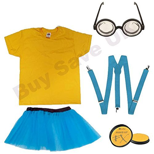 Childrens Kids Girls Yellow T Shirt, Face Paint, Blue Braces, Goggles Glasses & Skirt Fancy Dress Costume (5-6 years) by Blue Planet - Goggles Online Fancy