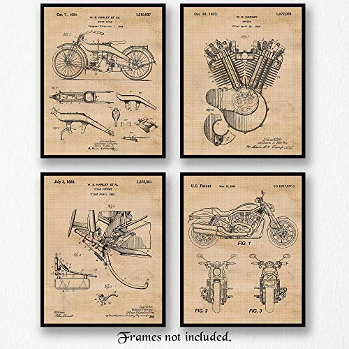 Original Harley Davidson Motorcycle Patent Art Poster Prints - Set of 4 (Four Photos) 8x10 Unframed - Great wall art decor Gifts Under $20 for Home, Office, Garage, Man Cave, Shop, Student, Hog Fan