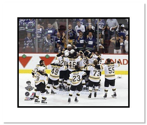 2010/11 Boston Bruins NHL Double Matted 8x10 Photograph Stanley Cup Champs On Ice Celebration