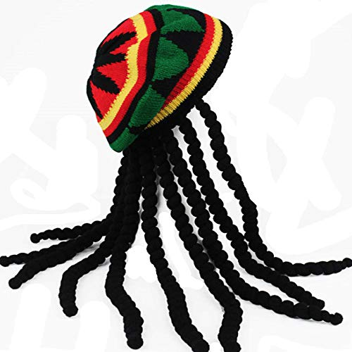 HZYFP Dreadlocks Wig Hat Reggae Jamaican Style Rasta Hat Crocheted Knitted Beret Cap Long Black Hair Costume -