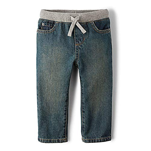 The Children's Place Little Boys and Toddler Pull-On Jean, Aged Stone, 2T]()