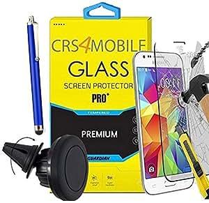 Juego de 3 protectores de pantalla de vidrio templado para SAMSUNG GALAXY J1, transparente y muy resistente, incluye lápiz, soporte magnético de pared Orientable 360° magnético para rejilla de ventilación.