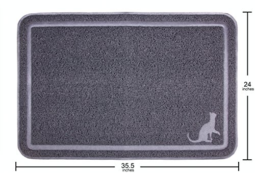 Caldwell's Extra Large, Tidy and Dust Free, Kitty Cat Litter Mat and Clumping Litter Trap 35.5 X 24 Inches Scatter Control Kittie Crystal Catcher Mats with Soft Paw Design (Gray)