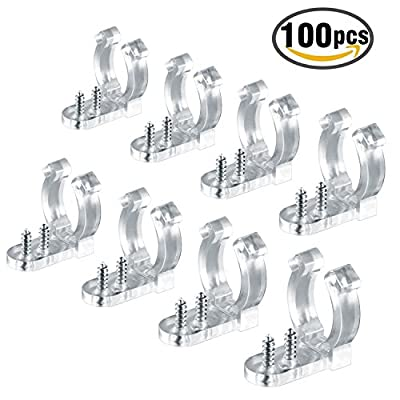 LED Rope Light Clips Holder – Plastic Mounting Clips for Led Light Wall Mount and Bar Mount 100PCS Clips with 200PCS Screws 1/2 inches