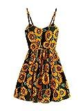 MakeMeChic Women's Spaghetti Strap Crisscross A-line Floral Dress Black one-size