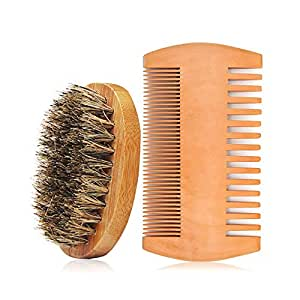 genkent Men'S Beard Brush And Comb Set For Home And Travel
