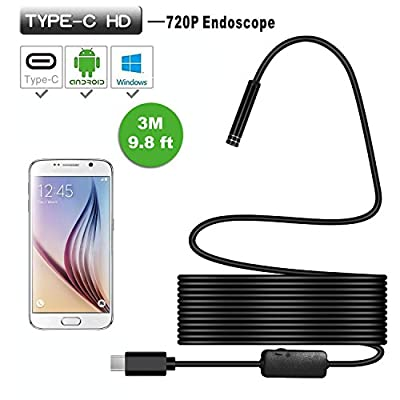 Cllena Type-C USB Endoscope, 2 in 1 Borescope Inspection Camera 2.0 Megapixels HD Snake Camera with USB Adapter for Android/Windows – 3.0 Meters (9.8 ft.)
