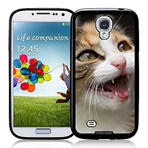 Hu Xiao Angry Cat Face protective Designer BLACK case cover Fits Samsung hxaoXQBnsGE Galaxy S4 i9500