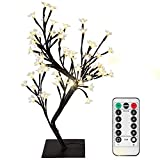 Cherry Blossom Tree Desk Lamp with Remote,0.45M/17.72Inch 48 Warm White LEDs,Black Branches,USB Powered,8 Lighting Mode,Dimmable,Timer Perfect for Bedroom Festival Party Wedding Christmas Indoor Decor