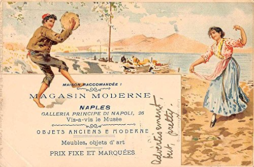 Naples Napoli Italy Store Advertising Woman Dancing Antique Postcard J76833