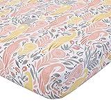 Dwell Studio Boheme Peacock/Floral Print Fitted Crib Sheet, Peach/Gold/Gray