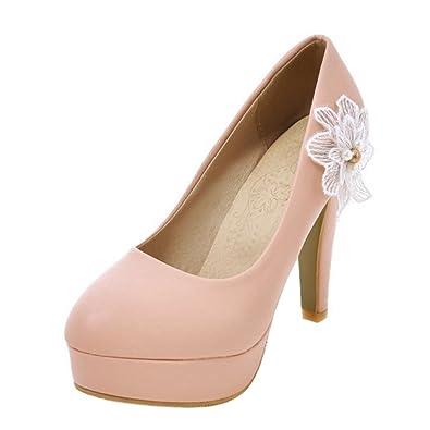 Zanpa Damen Mode Absatz Schuhe Plateau Blockabsatzs Pumps Beige Gr 41 Nr68UACkz