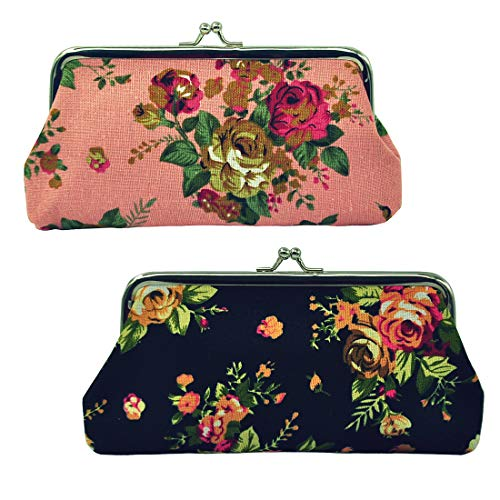 Pattern Clasp - Oyachic 2 Packs Coin Purse Cell Phone Pouch Rose Pattern Clasp Closure Wallet Gift (Black and pink)