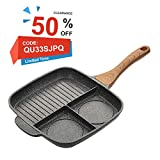 KI Stone & Ceramic Breakfast Pan 3 Section Divided Grill/Fry/Oven Meal Skillet Non-Stick Die-Casting Aluminum Cooker Pan, Induction Compatible Multipurpose Frying Pan, 1 Year Warranty