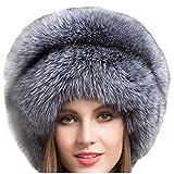 Valpeak Women's Genuine Fox Fur Hat with Tail Russian Style Protect Ears Winter Mongolian Hats (Silver)