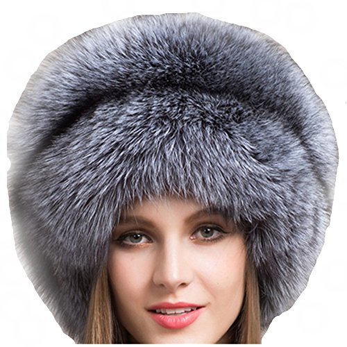 - Valpeak Women's Genuine Fox Fur Hat with Tail Russian Style Protect Ears Winter Mongolian Hats (Silver)