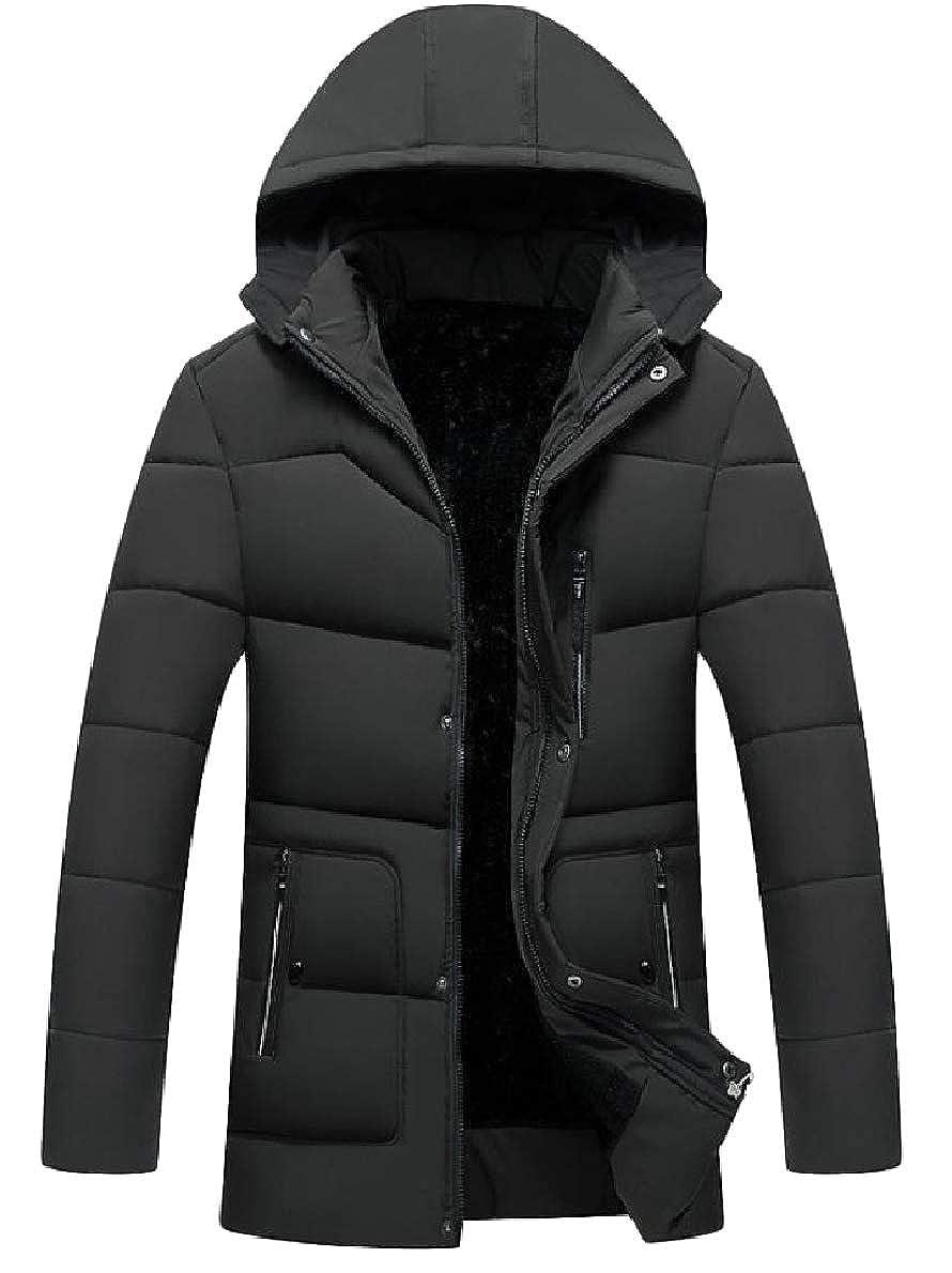 Winwinus Mens Warm Solid Pocket Thickened Zip Hoodie Velvet Down Jacket