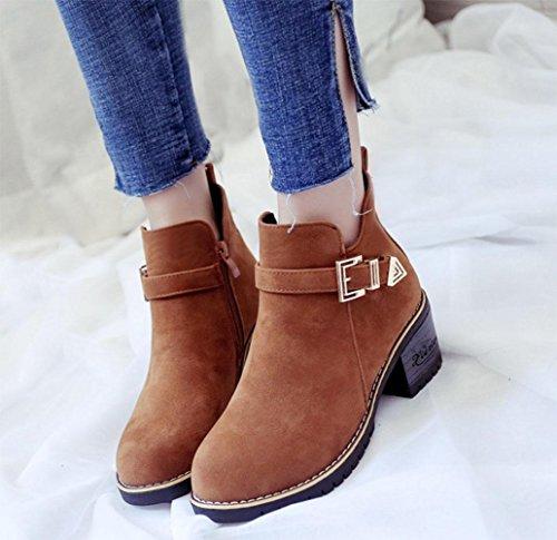 de negras oto botas UK4 ocasionales las Martin de 5 botas 5 redondas EU37 US6 o botas mujeres KUKI 7 cremallera de de botas de de las las mujeres 5 CN37 lateral mujeres botas SwZE55