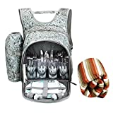 CampLand 4 Person Portable Picnic Backpack Flatware Plates...