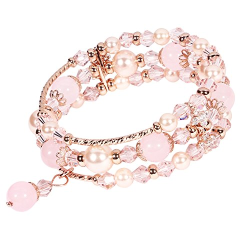 Natural Pink Pearl (Beaded Bracelet Handmade Faux Pearl Crystal Natural Stone Elastic Chain Rhinestone Charm Bracelets Hair Rope Decoration for Women Teen Girls Perfect Valentine Gift Packaging (Pink & Triple Row))