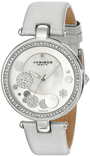Akribos XXIV Women's AKR434SL Diamond Silver Sunray Diamond Dial Quartz Strap Watch