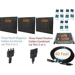 Plug-n-Power Space Flex 150w 150 Watt Three 50w SuperBlack Solar Panels Kit for 12v Off Grid Battery - next day from U.S.
